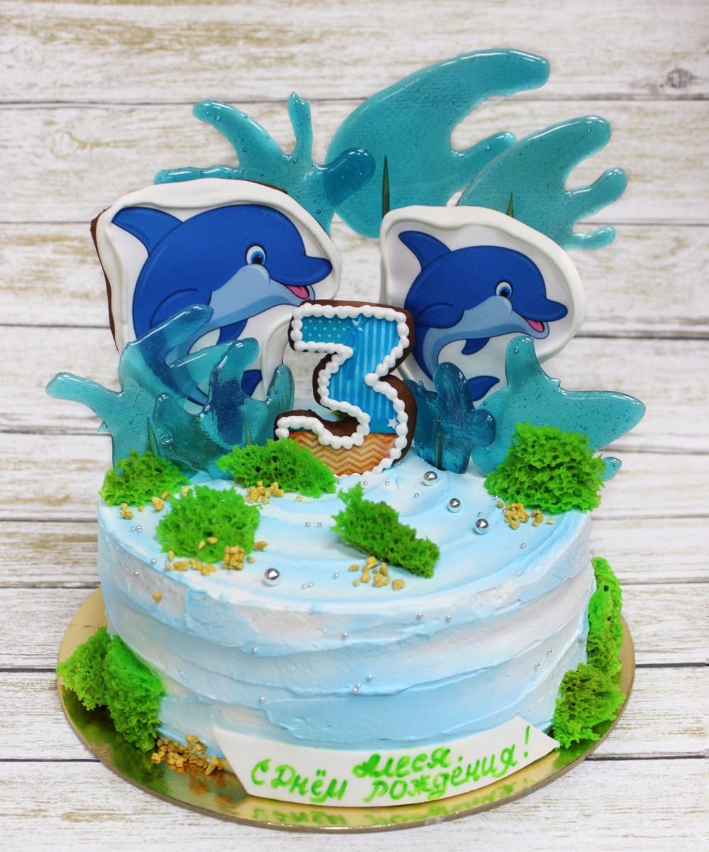 Торт детский с дельфином